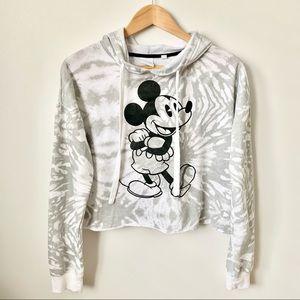 Disney Mickey Mouse Tie Dye Cropped Hoodie